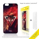 Funnytech Funda Silicona para Xiaomi Mi5S [Gel Silicona Flexible, Diseño Exclusivo] Fondo Lobo Rojo