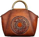Genuine Leather Handbags for Women, Organizer Top Handle Satchel Medium Vintage Handmade Embossing Totem Shoulder Bag(Orange Brown)