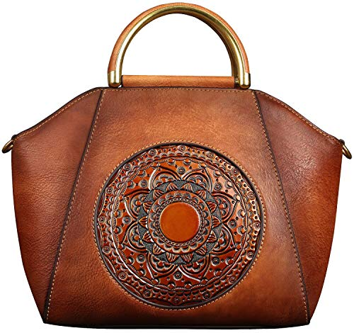Genuine Leather Handbags for Women, Organizer Top Handle Satchel Medium Vintage Handmade Embossing Totem Shoulder Bag 98.55.5 inches(Orange Brown)