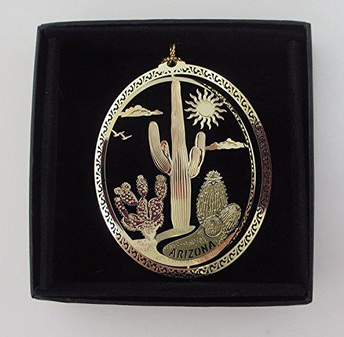 I Love My State Arizona Cactus Brass Ornament Souvenir Black Leatherette Gift Box