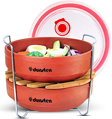 Dunsten Stackable Steamer Insert Pans for 6/8 Qt Electric Pressure Cookers | Easy to Store, Reheat and Clean | Accessories for Instant Pot Cooking | Includes 1 Lid for Leftovers | Dishwasher Safe