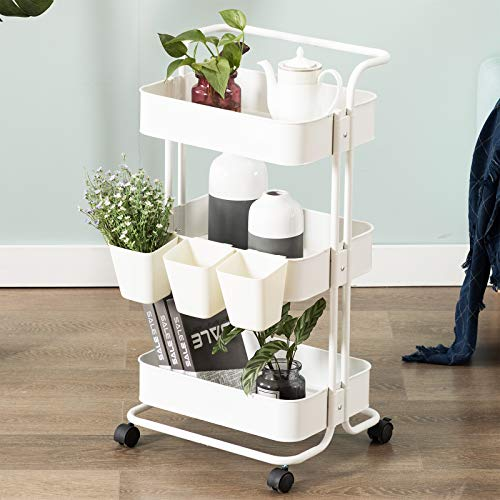 Artechworks 3-Tier Rolling Utility Cart with Handle and 3pcs Buckets, Makeup Cart with Roller Wheels Mobile Storage Organizer for Kitchen, Bathroom, Office, Coffee Bar, White