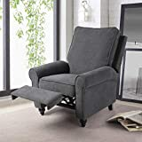 URRED Recliner Chair Accent Chair for Living Room-Manual Push Back Recliner Chairs (Gray)