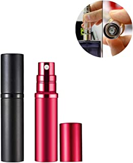 Yeejok Refillable Perfume Bottle Atomizer for Travel, Portable Easy Refillable 5ml Perfume Spray Pump Bottle for Men and Women - Black and Red
