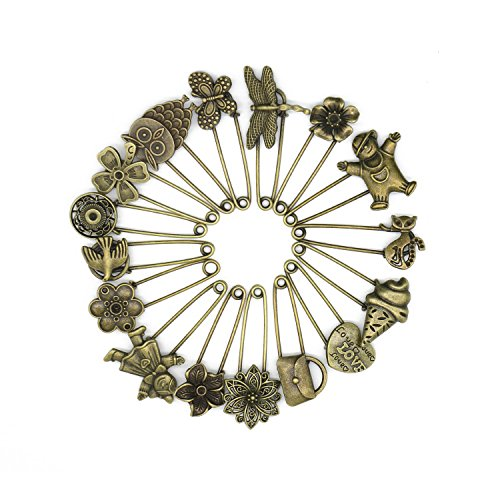 Stormshopping 16 Pcs Decorative Bronze Vintage Hijab Pins Brooch Pins Safety Pins Set