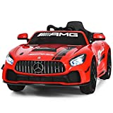 Costzon Ride On Car, 12V Licensed Mercedes Benz AMG GT4 Electric Vehicle w/ 2.4G Remote Control, Opening Doors, Head/Rear Lights, Swing Function, MP3 USB TF Input, Horn, High/ Low Speed for Kids (Red)