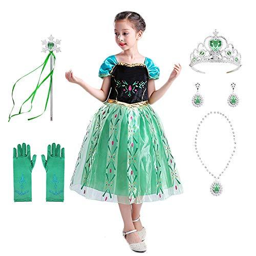 Geplaimir Disfraz de princesa para nias pequeas, disfraz de fiesta de nieve, cosplay, con accesorios G018L