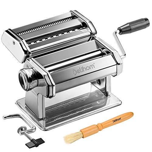 Delihom Pasta Maker  Stainless Steel Pasta Machine Cutter Hand Crank Clamp and Clean Brush for Homemade Spaghetti and Fettuccini
