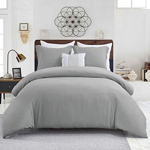 WAVVE Bettwäsche 140x200 Mikrofaser 2 teilig, weiche Flauschige Bettbezüge mit Reißverschluss, Dunkel Grau Bettbezug und 1 mal 80x80cm Kissenbezug