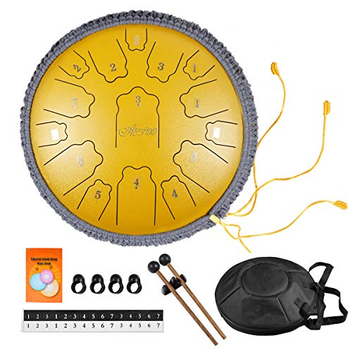 AETOO Steel tongue drum 14 inchs 15 notes D major Percussion instrument Kit Carry bag with Music book for Concert, Children's Music Enlightenment,for adults or biginner,Yoga Meditation …