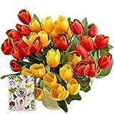 SnailGarden - Set di 36 Tulipani Artificiali con 2 colori, Tulipani di Seta con 1 Biglietto di Auguri per Matrimonio, Casa, Feste, Festival, Composizioni Floreali (Rosso/Giallo)