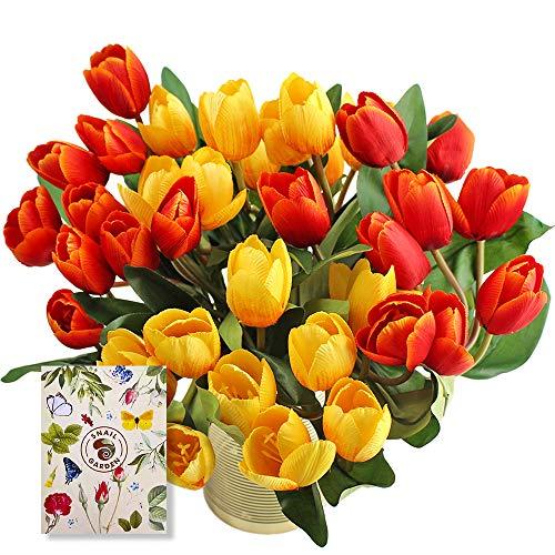 """SnailGarden 36 tulipanes sintéticos de 13.8"""" con 2 colores, Flores Artificiales Decorativas con 1 Tarjeta de Felicitación para Boda,Hogar,Fiesta,Decoración de Flores (Rojo/Amarillo)"""