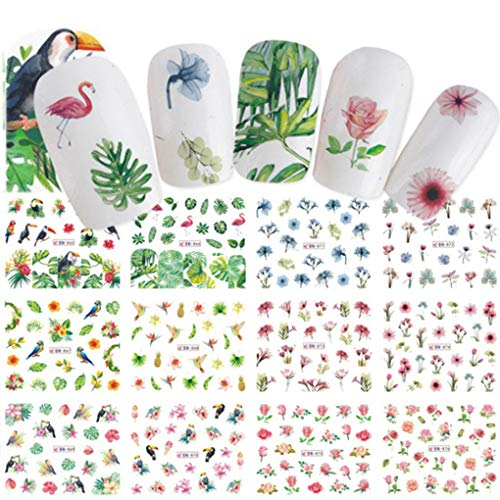 YOSIYO 2 Blatt 12 Entwürfe/Sheet Wasserzeichen Blumen-Vogel-Rose Frucht-Nagel-Aufkleber EIS-Kuchen-Maniküre-Abziehbilder Nagel-Kunst-Kleber Tip