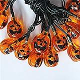 Cadena decorativa al aire libre de Halloween cadena de luz solar de calabaza linternas de jardín blanco 30 luces ojos fantasmas