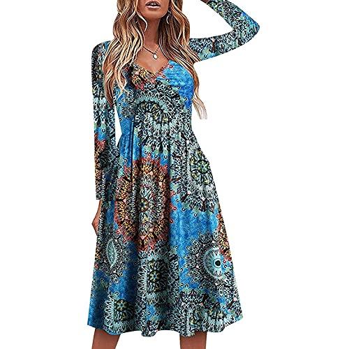 GFGHH Vestido de mujer de manga larga, informal, cuello en V, largo hasta la rodilla, elegante, para fiestas, tiempo libre, vestido de noche, vestido de cctel, vestido suelto, azul, M