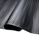 SEAL 4 x 10 ft Black Garage Floor Mat, 2.5mm Thickness Heavy Duty Garage Floor Protector Mat, Floor Protecting Parking Mats (Embossed Diamond Plate Pattern)