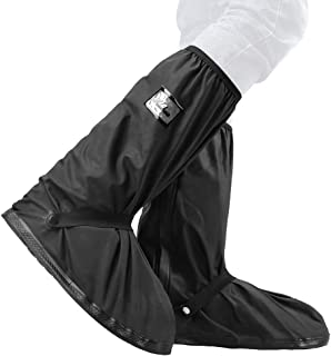 VTOSEN Black Waterproof Rain Boot Shoe Cover with Reflector, Reusable & Foldable Rain Shoe Covers Outdoor Sports Rain Boot Galoshes Overshoes for Men Women(1 Pair) (Black-XXL(13.4inch))