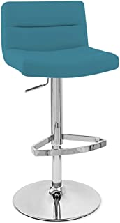 Zuri Furniture Light Blue Lattice Adjustable Height Swivel Armless Bar Stool