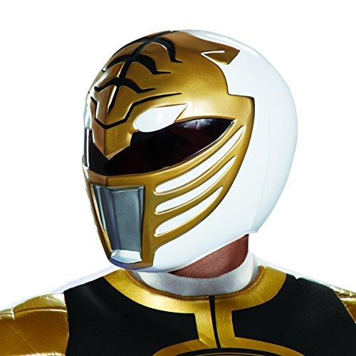 Disguise unisex adult White Ranger Helmet Sized Costumes, White, Standard US