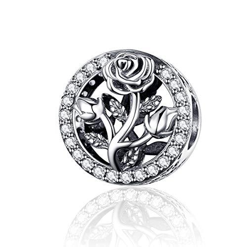 CHENGMEN - Abalorio para mujer, plata de ley 925, diseño de rosa