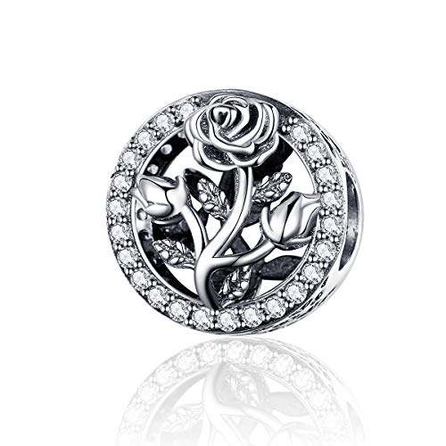 CHENGMEN Rose Flower 925 Sterling Silver Charms for Bracelets Wife Gifts from Husband Girlfriend Gifts from Boyfriend Jewellery Gift for Her