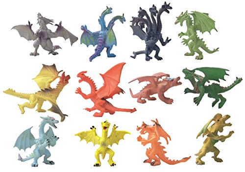 YIJIAOYUN 12 Stück Kreative Flying Dragon Figuren Cool Beasties Castle Spielzeug Party Favors oder Stocking Gefüllt