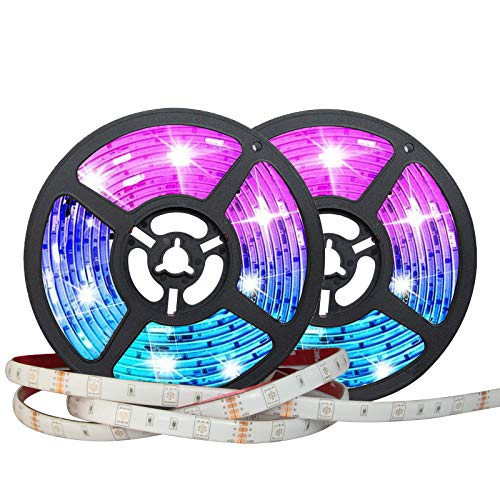LED Strip Lights, 32.8ft 5050 RGB Color Changing LED Lights Strip with 44-Key IR Remote Controller, Strong 3M Adhesive and 12V Safety Power Supply, Ideal for Home Bedroom and Holiday Decoration