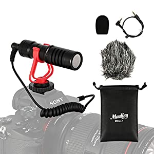 Moukey Camera Microphone Video Mic for DSLR Camera Smartphone, Universal External Vlogging Mic for Phone, Canon/Nikon/Sony Camera - MCM-1
