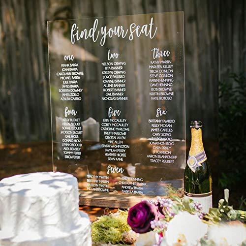 Yilooom - Cartello di benvenuto in acrilico trasparente, personalizzabile con numero di tavoli da matrimonio, cartello di benvenuto per eventi grandi, 20,5 x 30,5 cm