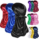 12PCS Silky Durags Pack for Men Waves, Satin Doo Rag,Style Y