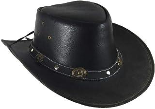 Lederhut Westernhut Cowboyhut mit Kinnband Concha schwarz oder braun