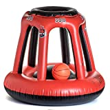 Pool Basketball Hoop – Red Swimming Pool Basketball Hoop Set – Durable PVC – Includes Ball, Pump and 2 Needles – Non-Leaky Valves and Easy Installation