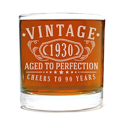 Image of the Vintage 1930 Etched 11oz Whiskey Rocks Glass - 90th Birthday Aged to Perfection - 90 years old gifts Bourbon Scotch Lowball Old Fashioned
