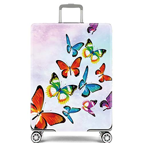 Luggage Cover Protective Washable Suitcase Cover - Travel Elastic Spandex Suitcase Protector (Butterfily, S 18-21inches)