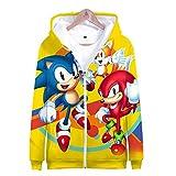 Sudadera Unisex 3D Imprimió Hoodie Bolsillo Grande Capucha Sweaters Hombre/Mujer HD Anime Patrón Sudaderas Manga Larga Cuello Redondo Pullover Cosplay Jacket Abrigo Sonic The Hedgehog S