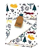 Chick Pea Baby Colorful Woodland Animals in Snow Printed Baby Blanket with Sherpa Backing   20 X 40 inches