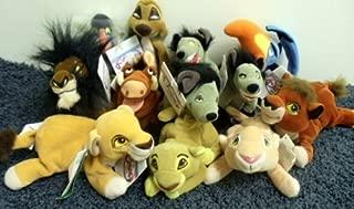 Rare Disney Lion King Complete Set of 12 Plush Bean Bag 8 Inch Dolls Including Simba, Nala, Kovu, Kiara, Shenzi, Ed, Banzai, Pumbaa, Zazu, Timon, Scar, and Rafiki