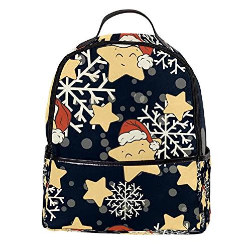 ATOMO - Mini zaino casual con stelle e fiocchi di neve, in pelle PU, da viaggio