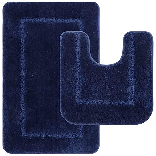 Pauwer - Set di 2 tappetini da bagno antiscivolo in microfibra lavabili, con motivo a U, per bagno, 53 x 86 cm + 50 x 50 cm