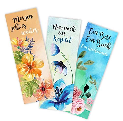 12er Set Lesezeichen Aquarell Blumen style I 5,2 x 14,8 cm I 3 Motive aus Papier I Rückseite blanko I für Frauen, Kinder und Jugendliche I bunt-es Design I dv_773
