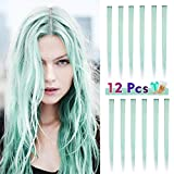 Colored Hair Extensions for Kids Women, BARSDAR 12PCS Colored Clip in Hair Extensions Rainbow Party Highlights Synthetic Hairpieces 21 inch Mint Blue Extensions with Rubber Bands