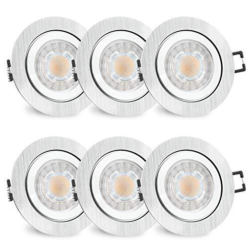 6er Set RW-2 Bad Einbaustrahler GU10 LED - inkl. wechselbarem LED GU10 3W warmweiß - 6x Spot gebürstet rund IP44 Bad & Küche
