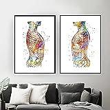 HXLZGFV Anatomía del Cuerpo Humano Abdomen clínico médico nórdico póster Arte de Pared Lienzo Pintura Cuadros de Pared para Decoraciones de Sala de Estar   40x60cmx2Pcs   sin Marco
