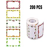 200 Piezas Mermelada de Pegatinas autoadhesivas, rollo 65 x 40 mm, longitud total 8,4 m, etiquetas para el hogar, etiquetas para congeladores, pegatinas para la cocina, mermeladas regalos