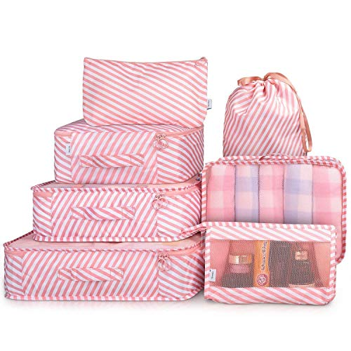 House of Quirk Polyester Packing Cubes With Pouch & Toiletry Bag (Set of 7) (Pink_TRAVELCUBE_SET7_PIN_STRIPES)
