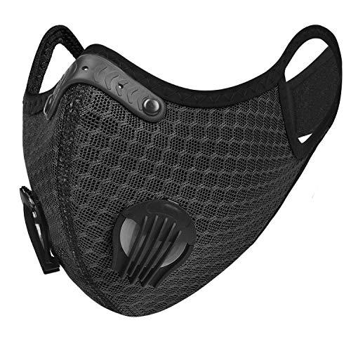 UTOTEBAG Breathable Face Mask with Valves Ventilated Sports Elevation Masks for Men Women Workout Exercise Training Gym, Black