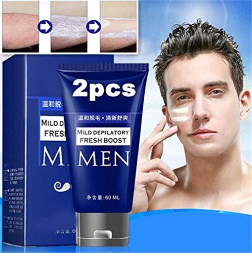 PMJAdd8s108 2pcs Permanent Hair Removal Cream, Inhibidor del Crecimiento del Cabello, Pasta Depilatoria, Crema para Quitar el Bigote de la Barba, Crema Depilatoria para Hombres, Pecho y Cuerpo