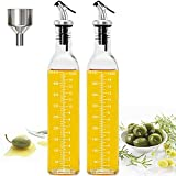 Botella de aceite Dispensador de vinagre y aceite de vidrio con pico vertedor. Dispensador de aceite de oliva con tapón anti-suciedad, 500 ml(2 unidades con 1 embudo)