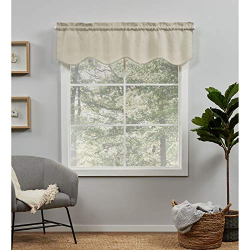Exclusive Home Curtains EH8472-04-1-16R Loha Light Filtering Rod Pocket Scalloped Valance, 54X16, Natural