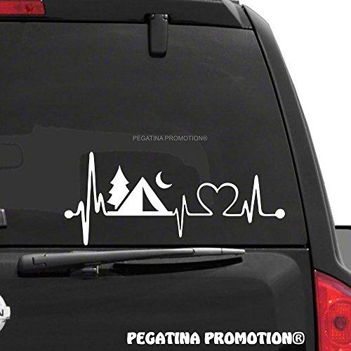 Camping Zelten Herzschlag Aufkleber 30 cm Herzlinie Hobby Sticker Auto Lack Scheibe Autoaufkleber von Pegatina Promotion ®
